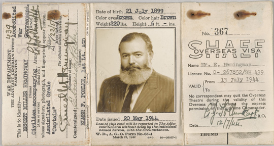 Ernest Hemingway's Certificate of Identity of Noncombatant, 1944 May 20, Non-Morgan, John F. Kennedy Presidential Library and Museum.