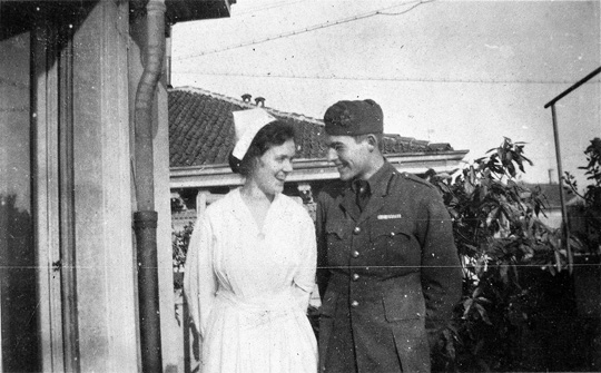 EH2528P ca. 1918 Ernest Hemingway and Agnes von Kurowsky, both in uniform, looking at each other. Milan, Italy. Copyright unknown in the Ernest Hemingway Collection of the John F. Kennedy Presidential Library and Museum, Boston.