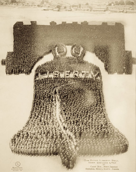 "5.GROUPS Mole & Thomas, ""The Human Liberty Bell, 27,000 Officers & Men at Camp Dix"", 1918"