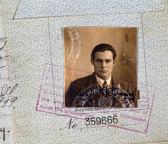 "EH-C6143D n.d. 1923 Ernest Hemingway's passport photo. Please credit: ""John F. Kennedy Library, Boston""."