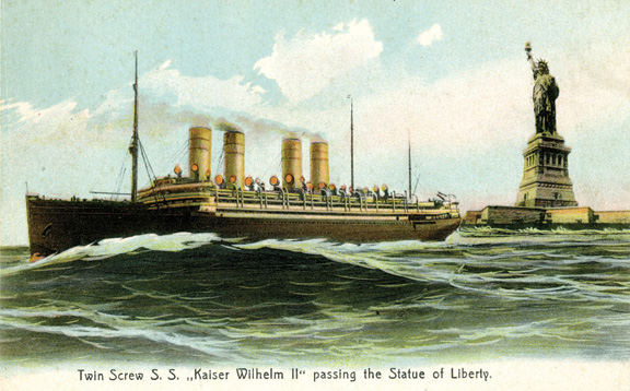 Twin-Screw SS Kaiser Wilhelm II passing the Statue of Liberty Postcard