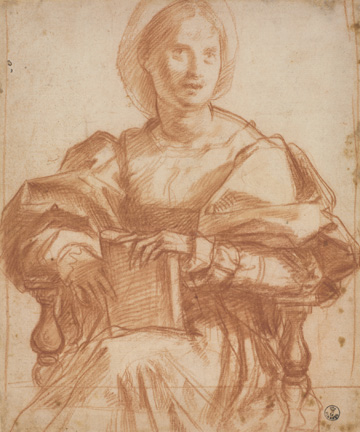 Andrea del Sarto (Italian, 1486 - 1530) Study for a Portrait of a Woman, Three-Quarter Length, about 1522 Red chalk 24.2 x 20.1 cm (9 1/2 x 7 15/16 in.) Framed: 52.5 x 39.5 x 3 cm (20 11/16 x 15 9/16 x 1 3/16 in.) Istituti museale della Soprintendenza Speciale per Il Polo Museale Fiorentino