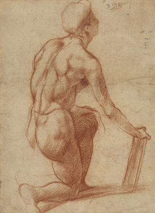 Study of a Kneeling Figure with a Sketch of a Face (recto); Figure Study and Face (verso); Andrea del Sarto (Italian, 1486 - 1530); 1522 - 1526; Red and black chalk (recto) ; red chalk (verso); 30.1 x 19.8 cm (11 13/16 x 7 13/16 in.); 84.GB.7