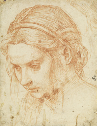 Andrea del Sarto (Italian, 1486 - 1530) Study of the Head of a Young Woman, about 1523 Red chalk 21.7 x 17 cm (8 9/16 x 6 11/16 in.) Framed: 52.5 x 39.5 x 3 cm (20 11/16 x 15 9/16 x 1 3/16 in.) Istituti museale della Soprintendenza Speciale per Il Polo Museale Fiorentino