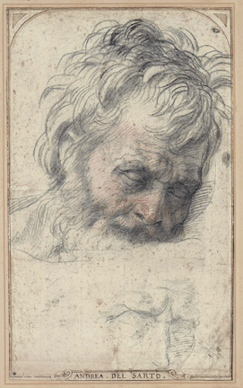 Andrea del Sarto (Italian, 1486 - 1530) Study for the Head of Saint Joseph, about 1527 - 1528 Red and black chalk Unframed: 37.5 x 22.6 cm (14 3/4 x 8 7/8 in.) Private Collection