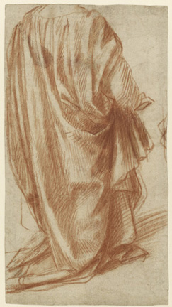 Drapery Study (recto), Study of a Nude Man (verso); Andrea del Sarto, Italian, 1486 - 1530; Italy, Europe; 1522 - 1525; Red chalk; 27.9 x 15.2 cm (11 x 6 in.); 89.GB.53