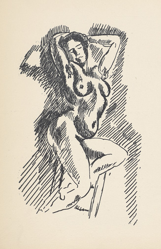 Reverdy, Pierre, 1889-1960. Les jockeys camoufles : trois poemes / par monsieur Pierre Reverdy ; agrementes de cinq dessins inedits de monsieur Henri Matisse. Paris : Se trouve A la Belle edition, 1918. PML 195627, illustration of female nude