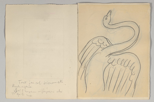 Maquette for Mallarme, Poesies, Swan illustration and facing page Non-Morgan, The Pierre and Tana Matisse Foundation, TMP 2014-229.1