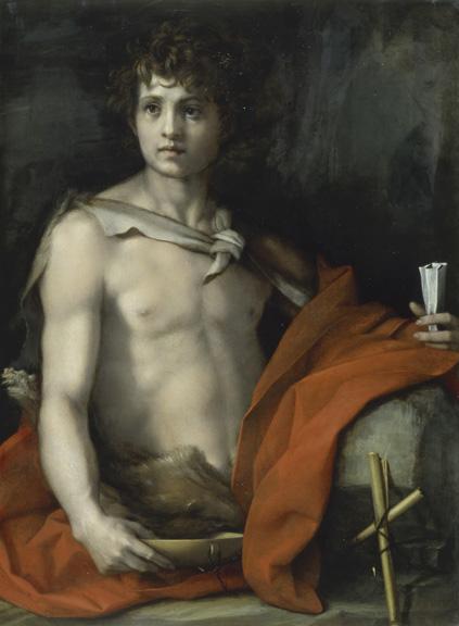Andrea del Sarto (Italian, 1486 - 1530) Saint John the Baptist, about 1523 Oil on panel Unframed: 94 x 68 cm (37 x 26 3/4 in.) Framed: H: 125 x W: 100 x D: 11.5 cm (49 3/16 x 39 3/8 x 4 1/2 in.) Istituti museali della Soprintendenza Speciale per il Polo Museale Fiorentino