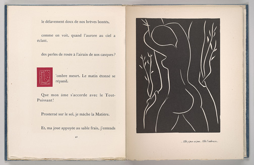 Montherlant, Henry de, 1896-1972. Pasiphae : Chant de Minos (Les Cretois) / [Paris] : Martin Fabiani, [1944], p. 42 and facing lihtograph (stitched together), PML 195598
