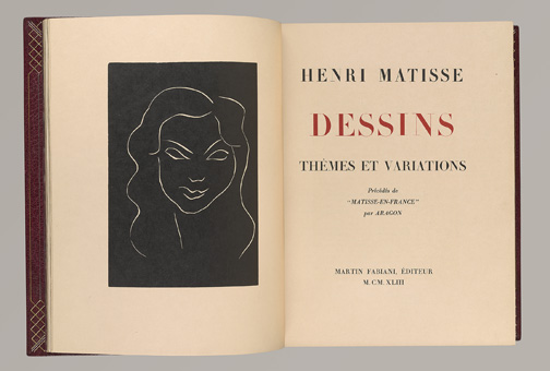 Matisse, Henri, 1869-1954. Dessins : themes et variations / [Paris] : Martin Fabiani, 1943. Frontispiece and Title Page, stitched together PML 195596