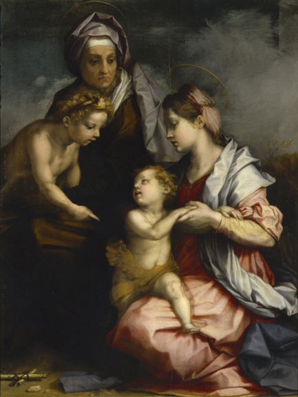 Andrea del Sarto (Italian, 1486 - 1530) The Medici Holy Family, 1529 Oil on panel Unframed: 140 x 104 cm (55 1/8 x 40 15/16 in.) Framed: 158 x 124 x 9 cm (62 3/16 x 48 13/16 x 3 9/16 in.) Istituti museali della Soprintendenza Speciale per il Polo Museale Fiorentino
