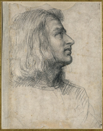 Andrea del Sarto (Italian, 1486 - 1530) Head of a Young Man, Looking Up to the Right, 1510 - 1512 Black chalk Unframed: 31.5 x 24.5 cm (12 3/8 x 9 5/8 in.) Framed: 65.5 x 48 x 2.5 cm (25 13/16 x 18 7/8 x 1 in.) Fondation Custodia, Collection Frits Lugt, Paris