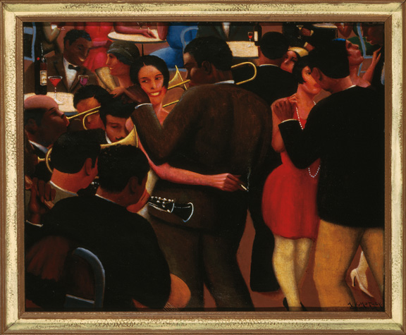 "Painting ""Blues"" by Archibald J. Motley, Jr., 1929. View of the interior of the Petite Cafe, Paris, France. This cafe was popular with expatriate Africans and West Indians. Oil on canvas."