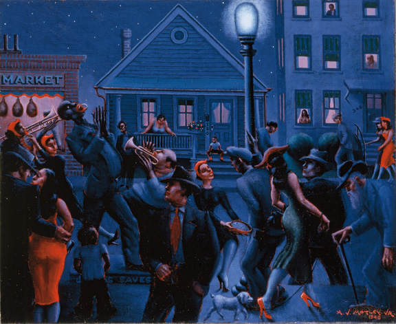 "Painting titled ""Gettin' Religion"" by Archibald J. Motley, Jr., 1948. Oil on canvas. Bronzeville street scene at night, Chicago, Illinois."