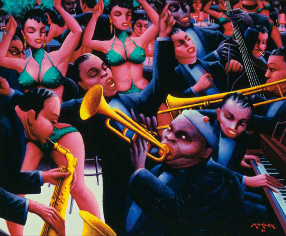 "Painting titled ""Hot Rhythm"" by Archibald J. Motley, Jr., 1961. Interior of a crowded club featuring jazz musicians and dancers."