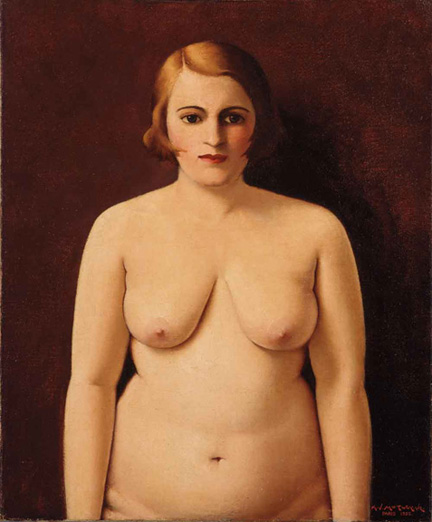 "Painting titled ""Nude (Portrait of My Wife)"" by Archibald J. Motley, Jr., 1930. Oil on canvas."