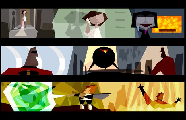 "Lou Romano, colorscript, ""The Incredibles,"" 2004. Digital painting."