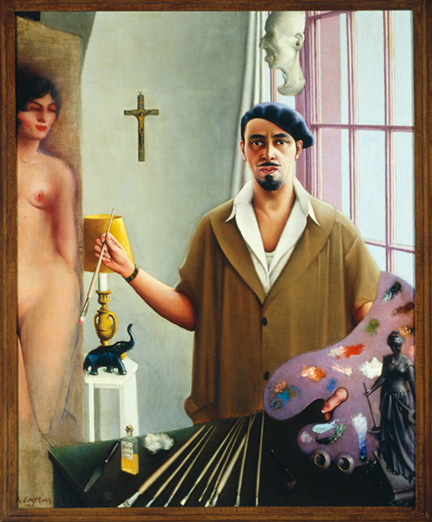 "Painting titled ""Self-Portrait (Myself at Work)"" by Archibald J. Motley, Jr., 1933. Oil on canvas. Motley depicts himself working on a painting of a nude."