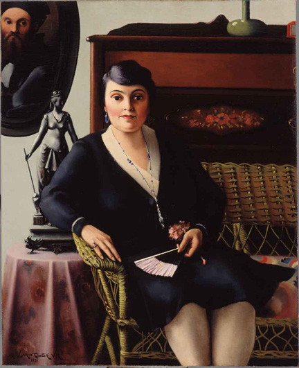 "Painting titled ""Portrait of a Woman on a Wicker Settee"" by Archibald J. Motley, Jr. ; 1919"