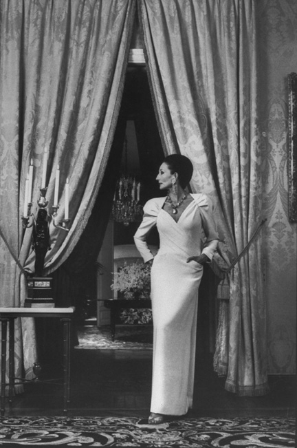 French stylist and socialite, Viscountess Jacqueline de Ribes, wearing evening dress and posing in ornate salon. (Photo by David Lees/The LIFE Images Collection/Getty Images)