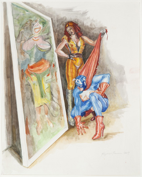 Margaret Harrison What's That Long Red Limp Wrinkly Thing You're Pulling On?, 2009 Colored pencil and watercolor on paper Paper: 23 7/8 x 18 7/8 inches Frame: 26 1/2 x 21 1/2 inches Photo: Casey Dorobek Courtesy of Ronald Feldman Fine Arts, New York