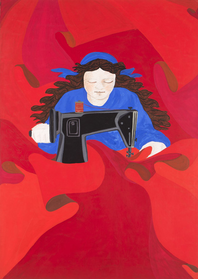 Gülsün Karamustafa First of May (Woman Constantly Sewing Red Flags with her Sewing Machine), 1978 Mixed media on paper 27⅝ x 19¾ in. (70.2 x 50.2 cm) Collection of Rampa, Istanbul © Gülsün Karamustafa, image provided by the artist