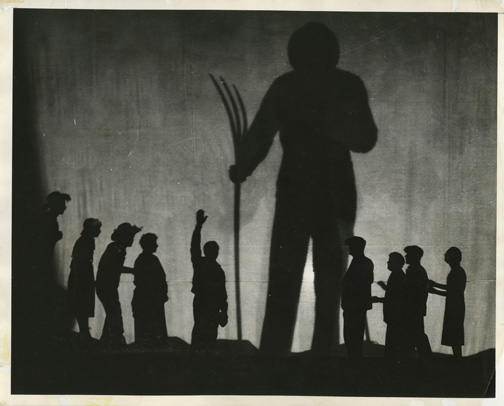 Shadow of the Plowman. Photograph, 1935. 8 x 10 in. (20.3 x 25.4 cm). WPA Federal Theatre Project, Music Division, Library of Congress, Washington D.C., ML31.F44