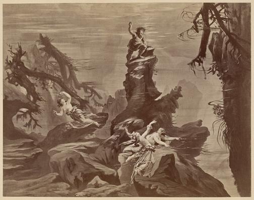 Das Rheingold, scene 1 [photograph] Hoffmann, Joseph, 1831-1904. Der Ring des Nibelungen : Photographien nach den scenischen Original-Entwurfen zu R. Wagner's Buhnenfestpiel / Wien : V. Angerer, [1878?], PMC 24