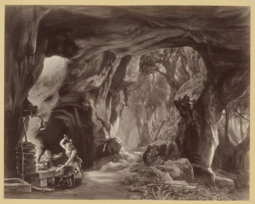 Siegfried, act 1 [photograph] Hoffmann, Joseph, 1831-1904. Der Ring des Nibelungen : Photographien nach den scenischen Original-Entwurfen zu R. Wagner's Buhnenfestpiel / Wien : V. Angerer, [1878?] PMC 24