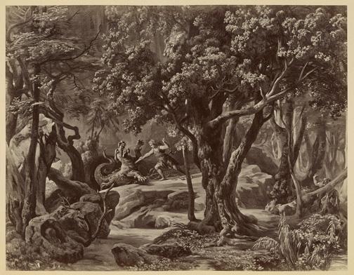 Siegfried, act 2 [photograph] Hoffmann, Joseph, 1831-1904. Der Ring des Nibelungen : Photographien nach den scenischen Original-Entwurfen zu R. Wagner's Buhnenfestpiel / Wien : V. Angerer, [1878?] PMC 24
