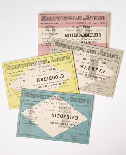 Wagner, Richard, 1813-1883. Tickets for each of the four operas performed during the premiere season at Bayreuth, 1876.