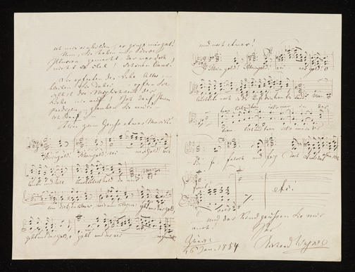 "Wagner, Richard, 1813-1883. Autograph letter signed, dated : Zurich, 16 January 1854, to ""Liebe Kapellmeisterin"" [i.e., Carolyne Sayn-Wittgenstein], 1854 Jan. 16. pages 2 and 3, MFC W134.S275"