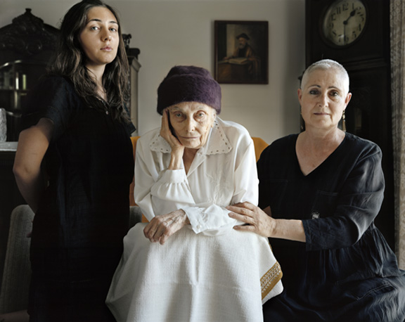 FrŽdŽric Brenner (French, born 1959). Ruth Chaya Leonov-Carmely, Nechama Weitman, Pnina Leonov, 2010 Archival pigment print, 23 5/8 x 18 3Ú4 in. (60 x 47.7 cm). © Frederic Brenner, courtesy of Howard Greenberg Gallery, New York