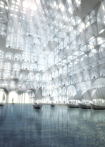 Sou Fujimoto Architects (Tokyo, Japan, founded 2000): Sou Fujimoto (Japanese, b. 1971); Rendering, Souk Mirage / Particles of Light commercial building complex, concept master plan, 2013