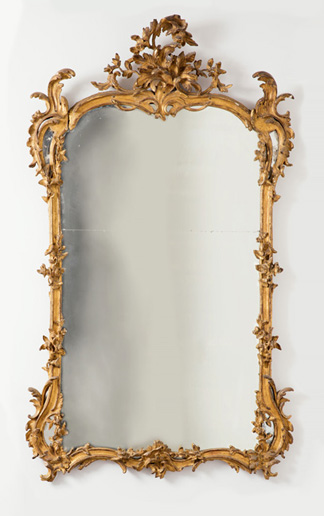Mirror. England, ca. 1760. Carved and gilt pine, mirrored glass. H x W x D: 182.9 x 109.2 x 17.8 cm (6 ft. x 43 in. x 7 in.). Bequest of Mary Hayward Weir, 1968-158-4.