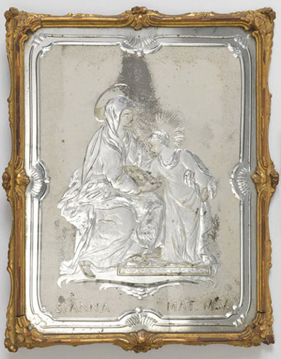 Mirror. Venice, Italy, 1730–1760. Engraved and silvered glass; carved, gessoed, and gilded wood. H x W x D: 39.5 × 32 × 2.2 cm (15 9/16 × 12 5/8 × 7/8 in.). Gift of Eleanor and Sarah Hewitt, 1915-16-8-a.