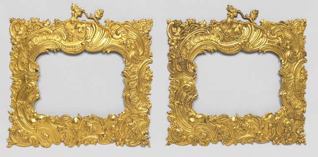 Pair of frames. France, ca. 1745. Cast and gilt bronze. H x W x D (a): 22 x 22 x 1.2 cm (8 11/16 x 8 11/16 x 1/2 in.). Purchased for the Museum by the Advisory Council, 1910-30-11-a,b.