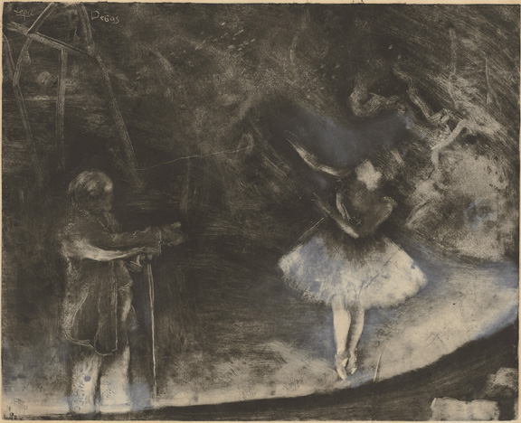 "Edgar Degas, executed in collaboration with Vicomte Lepic (French, 1839 - 1889 ), The Ballet Master (Le ma""tre de ballet), c. 1874, monotype heightened and corrected with white chalk or wash, Rosenwald Collection"