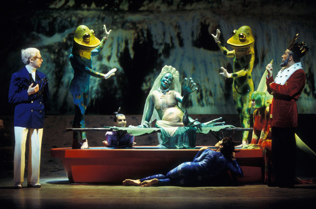 An ensemble scene from Mark Morris's production of Rameau's Platée, Royal Opera, 1997.