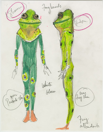 Isaac Mizrahi, sketch for the frog attendants from Platée.