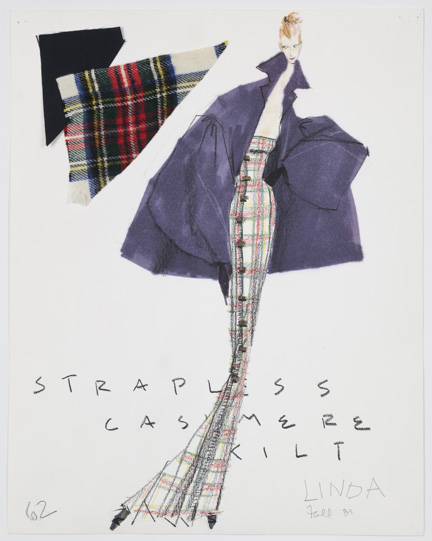 Isaac Mizrahi, sketch for Extreme Kilt, fall 1989.
