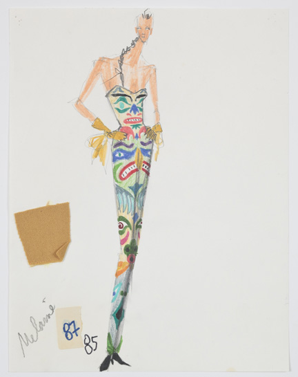 Isaac Mizrahi, sketch for Totem Pole, fall 1991.