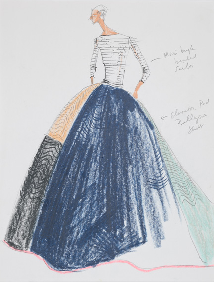Isaac Mizrahi, sketch for Elevator Pad Gown, spring 2005.