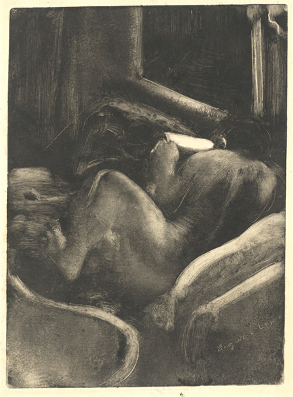 Edgar Degas (French, 1834 - 1917 ), Woman Reading (Liseuse), c. 1885, monotype (black ink), Rosenwald Collection