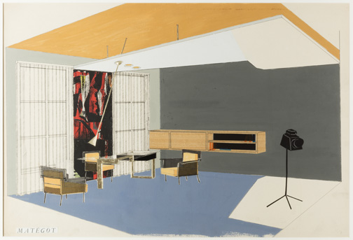 Drawing, Interior Ca. 1950 Designed by Mathieu MatŽgot (Hungarian and French, 1910-2001) France Gouache, ink, collage on paper 47 * 72.4 cm (18 1/2 * 28 1/2 in.) Promised gift of George R. Kravis II Photo: Matt Flynn © Smithsonian Institution