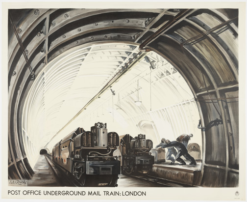 Poster, Post Office Underground Mail Train: London 1935 Designed by Lili RŽthi (American, born Austria, 1894 - 1969) London, England Offset Lithograph on paper 102 * 126.5 cm (40 3/16 * 49 13/16 in.) Promised gift of George R. Kravis II Photo: Matt Flynn © Smithsonian Institution