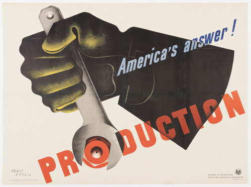 Poster, AmericaÕs Answer! Production 1942 Designed by Jean Carlu (French, active United States, 1900 - 1997) Printed by the U.S. Government Printing Office Published by the Office of Emergency Management (USA) Offset lithograph on paper 76.2 * 101.6 cm (30 * 40 in.) Promised gift of George R. Kravis II Photo: Matt Flynn © Smithsonian Institution