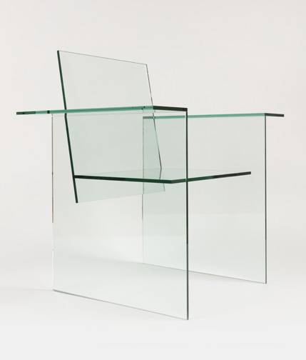 Armchair 1976 Designed by Shiro Kuramata (Japanese, 1934Ð1991) Manufactured by Mihoya Glass Co., Ltd. (Tokyo, Japan) Assembled laminated plate glass H x W x D: 86.4 * 90.2 * 61 cm (34 in. * 35 1/2 in. * 24 in.) Promised gift of George R. Kravis II Photo: Matt Flynn © Smithsonian Institution