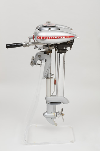Waterwitch Model MB 571.11 Outboard Motor Ca. 1937 Designed by John Richard Morgan (American, born Canada, 1903-1986) Manufactured by Kissel Motor Company (Hartford, Wisconsin, USA) Distributed by Sears, Roebuck and Co. (Chicago, Illinois, USA) Cast aluminum, steel, brass, molded rubber H x W x D: 93.5 * 40.5 * 55.5 cm (36 13/16 * 15 15/16 * 21 7/8 in.) Promised gift of George R. Kravis II Photo: Matt Flynn © Smithsonian Institution